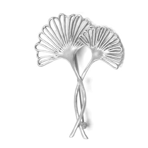 Ginkgo Two-Leaf Pin - Platinum Silver