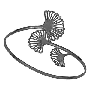 Ginkgo Triple Leaf Bangle Bracelet - Gunmetal