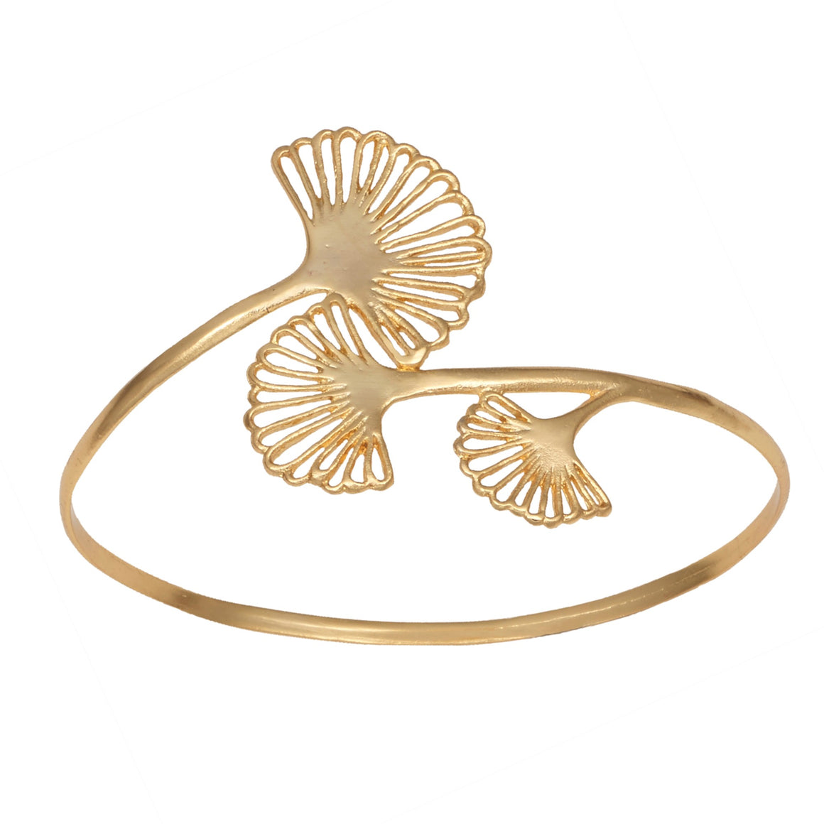 Ginkgo Triple Leaf Bangle Bracelet - 24K Gold Plated