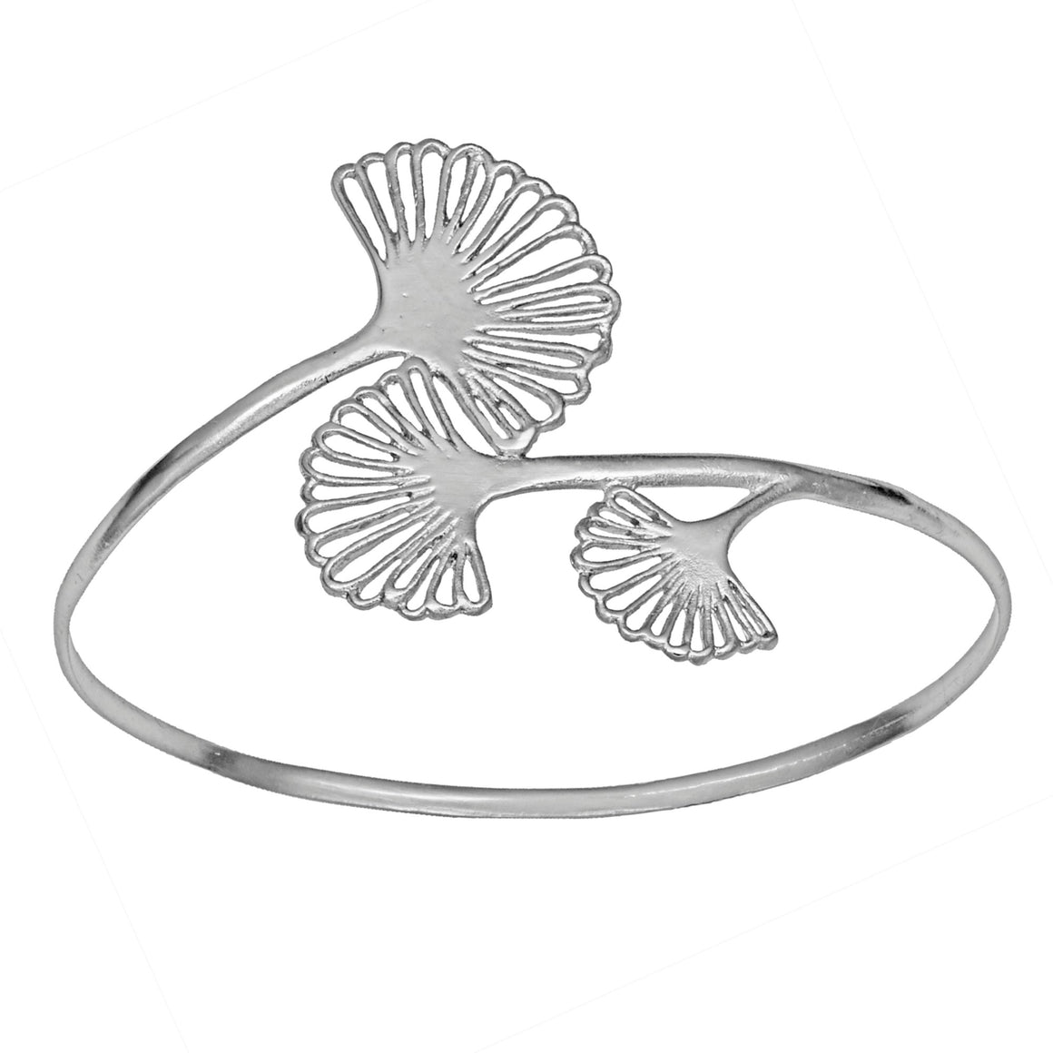 Ginkgo Triple Leaf Bangle Bracelet - Platinum Silver