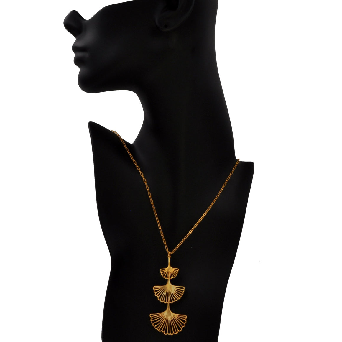 Ginkgo Triple Tier Pendant - 24K Gold Plated