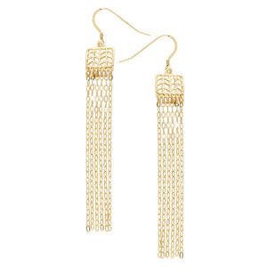 Glamorous Fringe Chevron Leaf Earrings - 24K Gold Plated