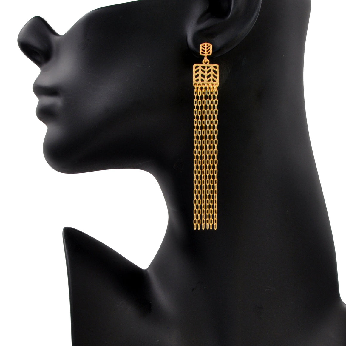 Glamorous Fringe Chevron Leaf Earrings (Post) - 24K Gold Plated