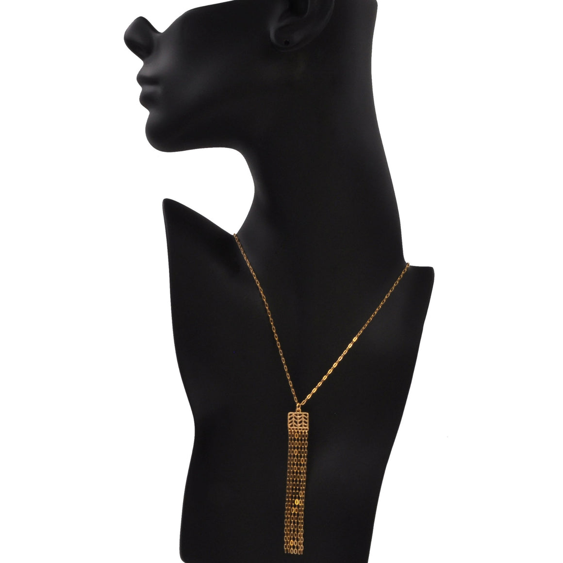 Glamorous Fringe Chevron Leaf Necklace - 24K Gold Plated
