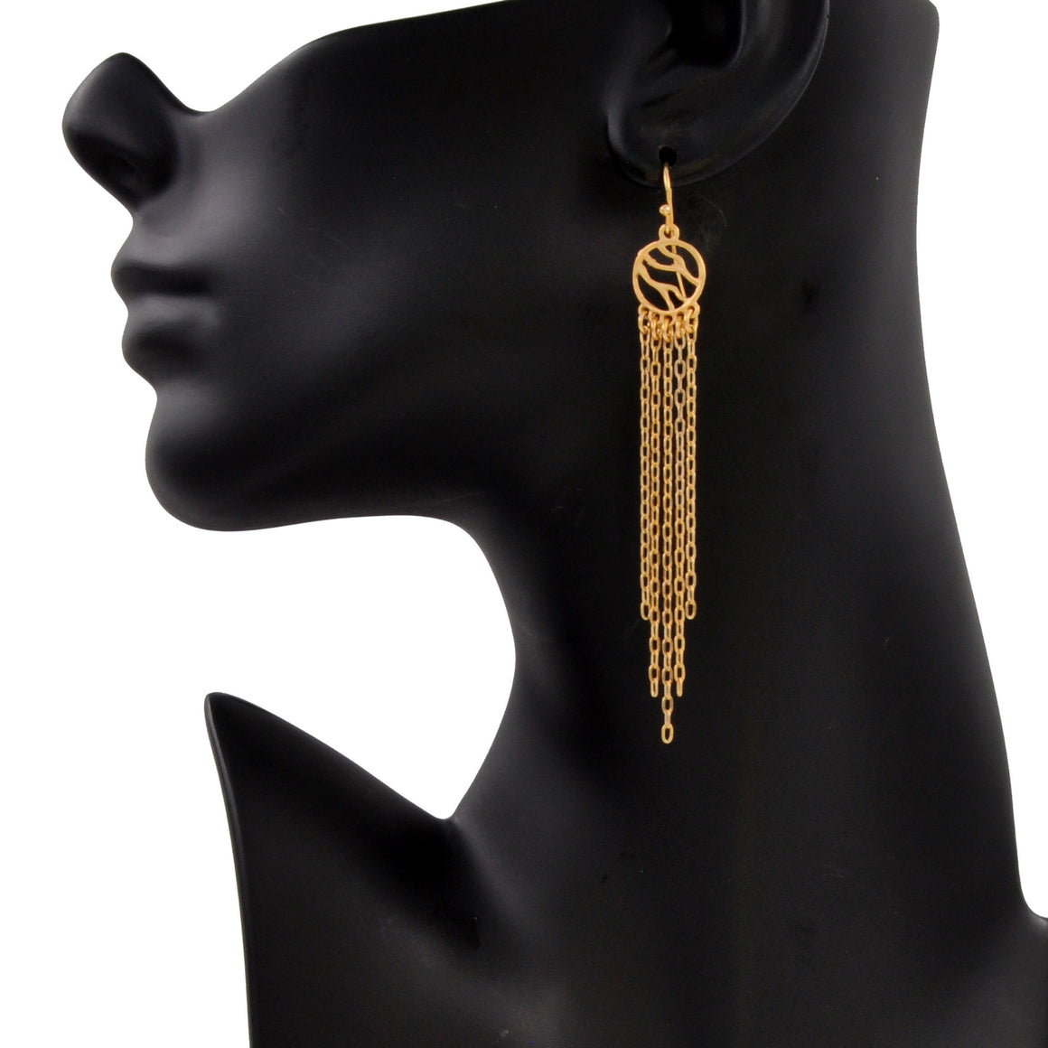 Glamorous Fringe Circle Earrings - 24K Gold Plated