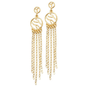 Glamorous Fringe Circle Earrings (Post) - 24K Gold Plated