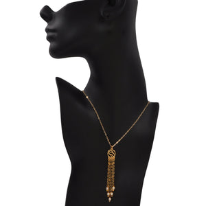 Glamorous Fringe Circle Necklace with Pearls - 24K Gold Plated