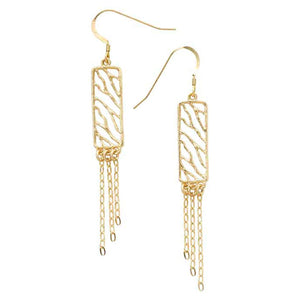 Glamorous Fringe Rectangle Earrings - 24K Gold Plated