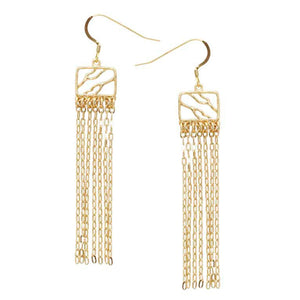 Glamorous Fringe Square Branch Earrings - 24K Gold Plated