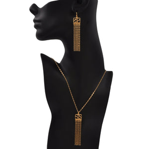 Glamorous Fringe Square Branch Necklace - 24K Gold Plated