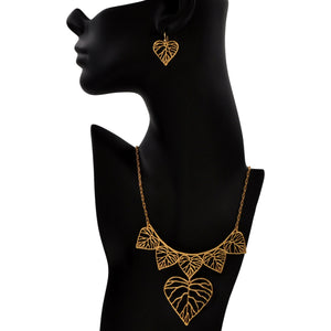 Heart Leaf Collar Necklace - 24K Gold Plated