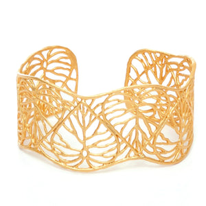 Heart Leaf Cuff - 24K Gold Plated