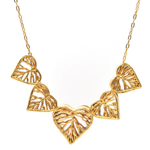 Heart Leaf Dimensional Necklace (Five Hearts) - 24K Gold Plated