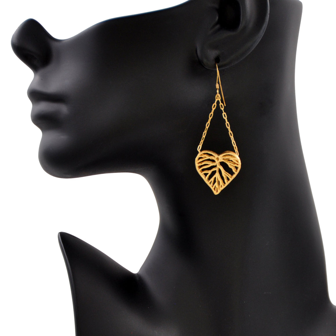 Heart Leaf Dimensional Dangling Earrings - 24K Gold Plated