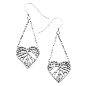 Heart Leaf Dimensional Dangling Earrings - Platinum Silver