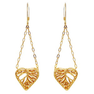 Heart Leaf Dimensional Dangling Earrings (Petite) - 24K Gold Plated