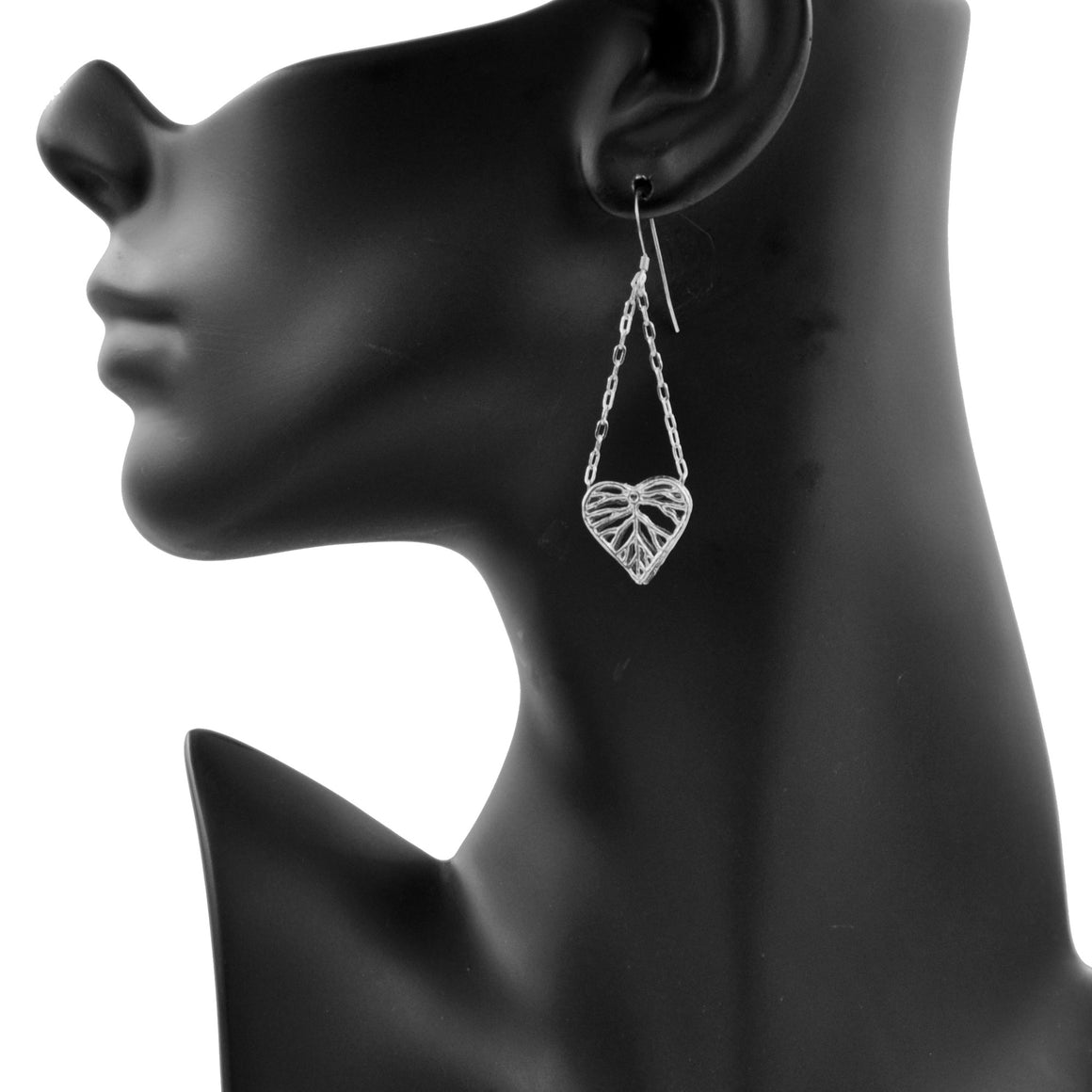 Heart Leaf Dimensional Dangling Earrings (Petite) - Platinum Silver