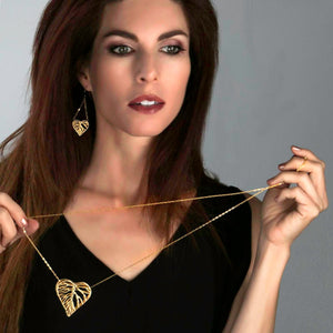 Heart Leaf Dimensional Necklace (Large) - 24K Gold Plated