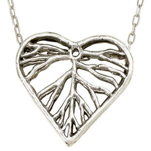 Heart Leaf Dimensional Necklace (Large) - Platinum Silver