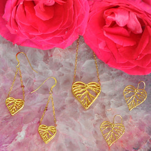 Heart Leaf Dimensional Necklace (Small) - 24K Gold Plated