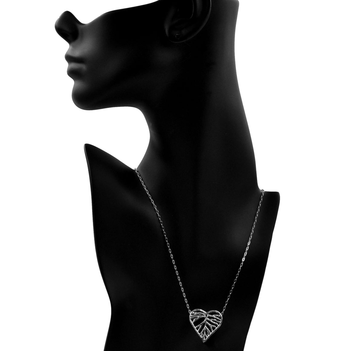 Heart Leaf Dimensional Necklace (Small) - Platinum Silver