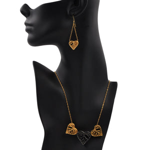 Heart Leaf Dimensional Necklace (Three Hearts) - 24K Gold Plated