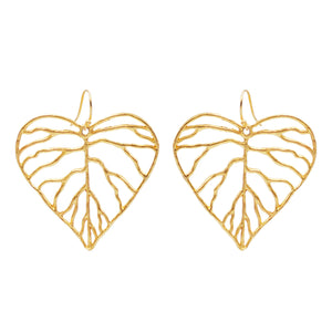 Heart Leaf Earrings (Large) - 24K Gold Plated