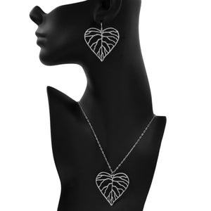 Heart Leaf Earrings (Large) - Platinum Silver