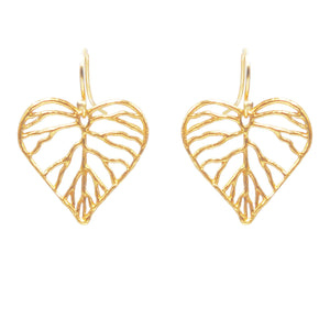 Heart Leaf Earrings (Petite) - 24K Gold Plated