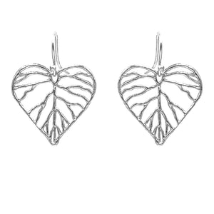 Heart Leaf Earrings (Petite) - Platinum Silver