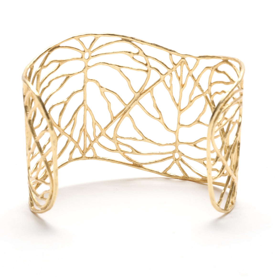 Heart Leaf Leaf Cuff Wide - 24K Gold Plated