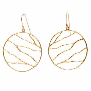 Intricate Branches Circle Earrings - 24K Gold Plated
