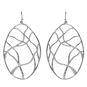 Intricate Branches Oval Earrings - Platinum Silver