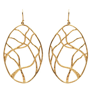 Intricate Branches Oval Earrings - 24K Gold Plated