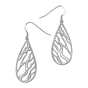 Intricate Branches Teardrop Earrings - Platinum Silver