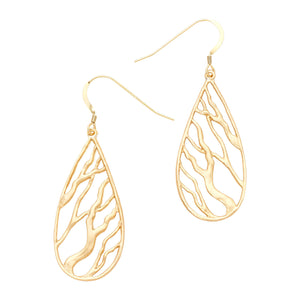 Intricate Branches Teardrop Earrings - 24K Gold Plated