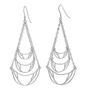 Crescent Chandelier Earrings - Platinum Silver