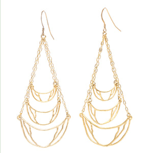 Crescent Chandelier Earrings - 24K Gold Plated