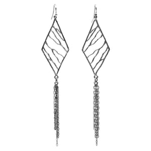 Intricate Branches Diamond Fringe Earrings - Platinum Silver