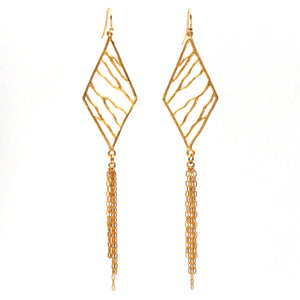 Intricate Branches Diamond Fringe Earrings - 24K Gold Plated