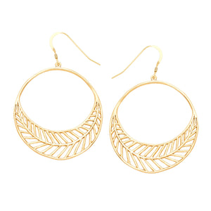 Chevron Leaf Circle Earrings - 24K Gold Plated