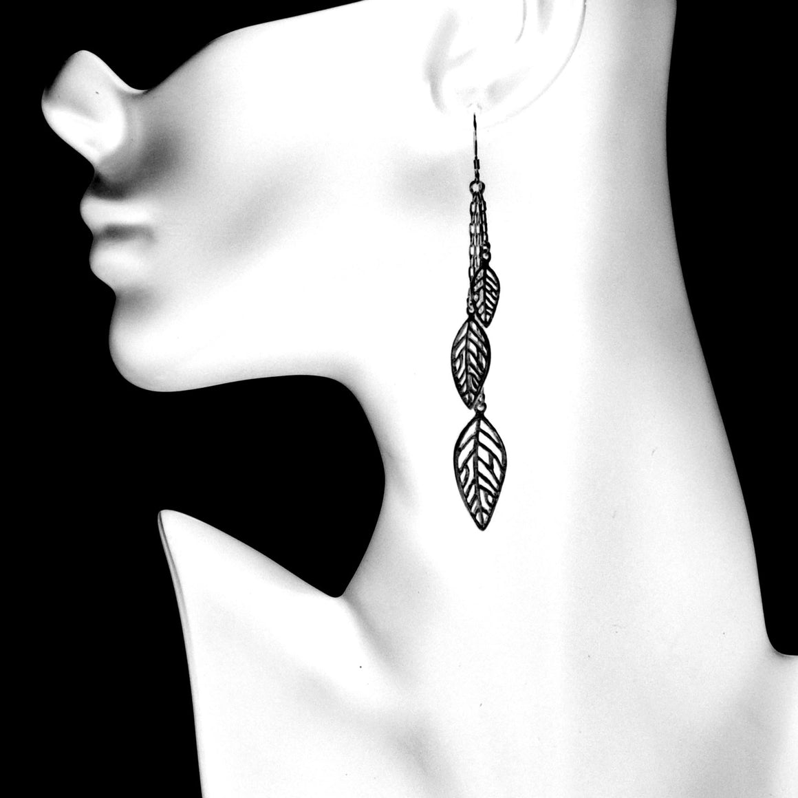 Birch Leaf Earrings - Gunmetal