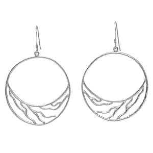 Intricate Branches Crescent Hoop Earrings - Platinum Silver