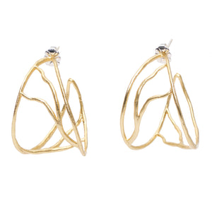 Intricate Branches Hoop Earrings - 24K Gold Plated