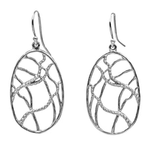 Intricate Branches Oval Earrings (Petite) - Platinum Silver