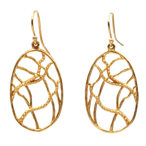 Intricate Branches Oval Earrings (Petite) - 24K Gold Plated