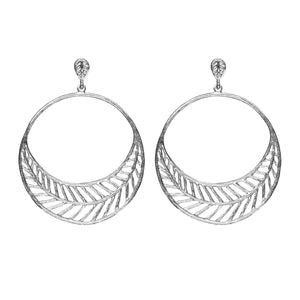 Chevron Leaf Circle Earrings (Post) - Platinum Silver