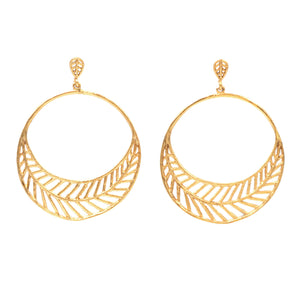 Chevron Leaf Circle Earrings (Post) - 24K Gold Plated