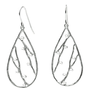 Intricate Branches Pearl Earrings - Platinum Silver