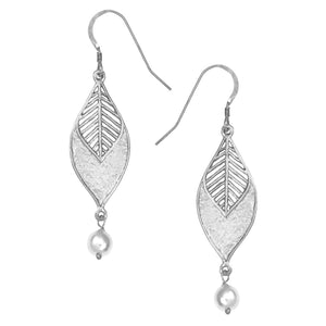 Chevron Leaf Pearl Earrings - Platinum Silver